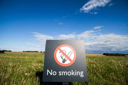 no image: Color image of a No Smoking sign on a on a meadow.