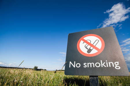 interdiction: Color image of a No Smoking sign on a on a meadow.