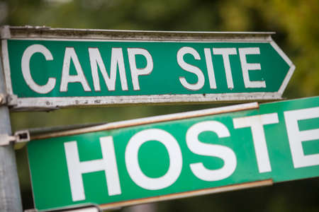 hostel: Color image of a camping and hostel indicator sign. Stock Photo