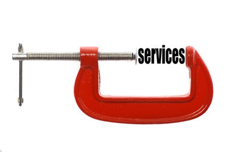 vice: The word services is compressed with a vice.