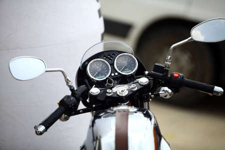 handlebars: Color image with the handlebars of a motorcycle. Stock Photo