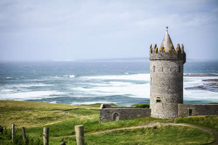 irish history: Doonagore Castle in County Clare on the Wild Atlantic Way route, in Ireland.