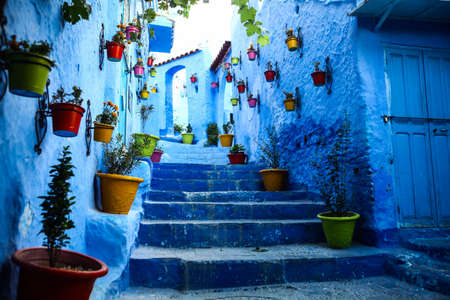 Color image of a street inthe famous blue town Chefchaouen, Morocco.