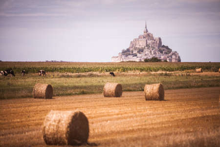 mont saint michel: Color image some hay rolls in front of Mont Saint Michel in Normandy, France. Stock Photo