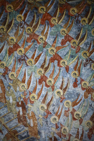 wall paintings: Color image of some very old religious Orthodox paintings on a wall. Editorial