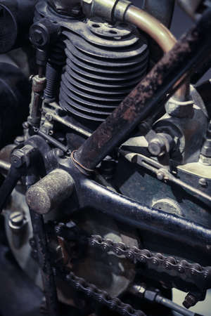 rusty chain: Color image of a vintage motorcycle engine.