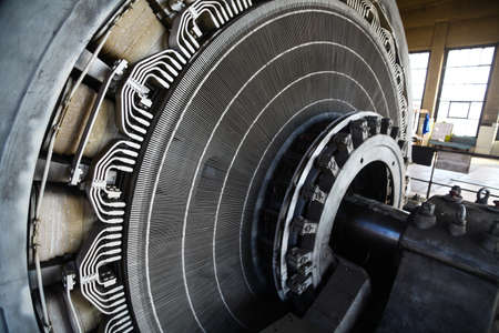 electric iron: Close-up shot of a stator from a big electric motor. Stock Photo
