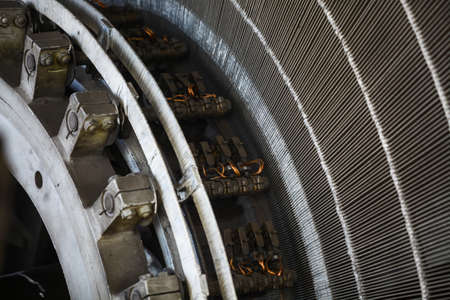 Close-up shot of a stator from a big electric motor. Stock Photo