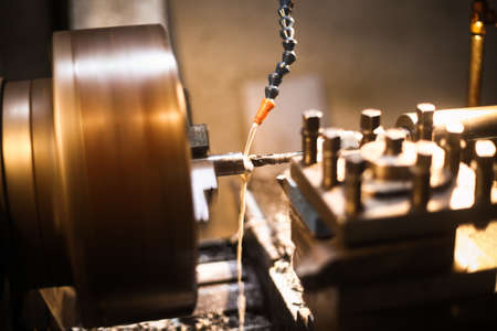 Color image of a lathe in a factory.