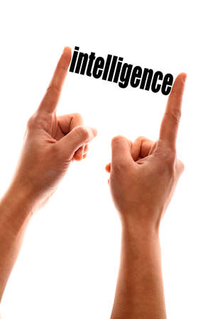 proficient: Color vertical shot of a hand squeezing the word intelligence.