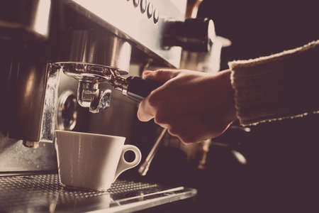 Color image of an espresso making machine. Stock Photo