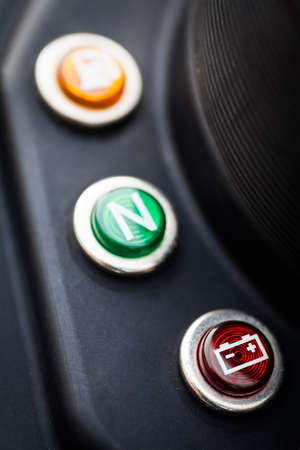 power failure: Color image of a battery indicator on a motorcycle dashboard.