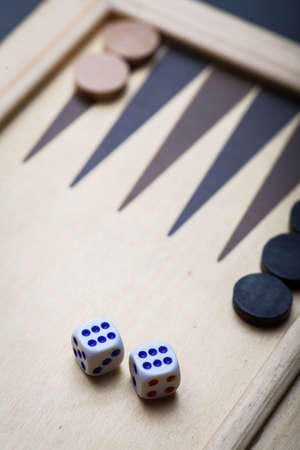 backgammon: Color image of a backgammon board with dice. Stock Photo