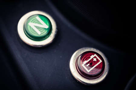 dashboard: Color image of a battery indicator on a motorcycle dashboard.