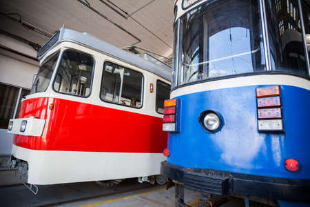 trams: Color image of some trams in a tram depot.