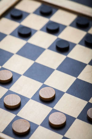 board game: Color shot of a vintage draughts or checkers board game.