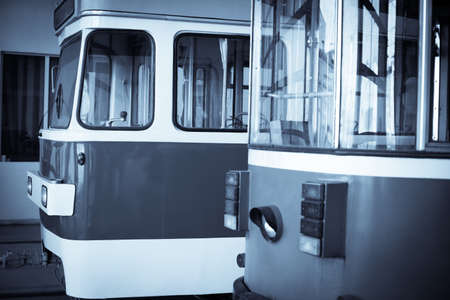 trams: Image of some trams in a tram depot. Stock Photo