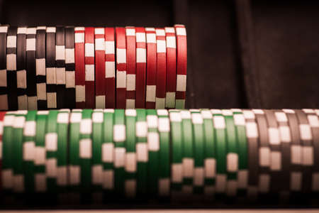 gamblers: Color detail image of some poker chips. Stock Photo