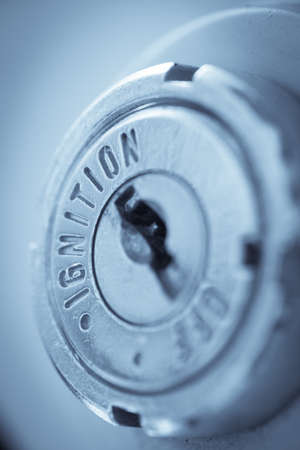 ignition: Close up shot of a motorcycle key hole, ignition switch. Stock Photo