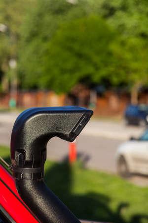 intake: Close up shot of an off road car air intake, called snorkel.