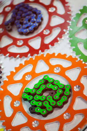 sprockets: Color image of some motorcycle chains and sprockets.