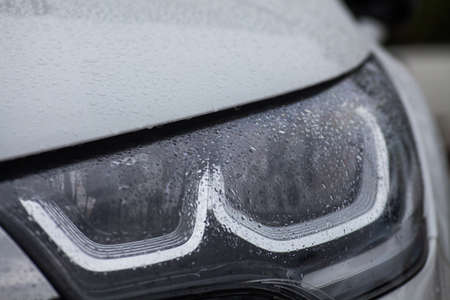 headlights: Detail on one of the LED headlights of a car. Stock Photo