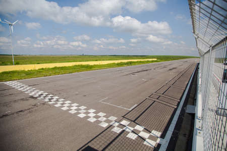 motor sport: Color image of the finish line of a motor sport circuit. Stock Photo