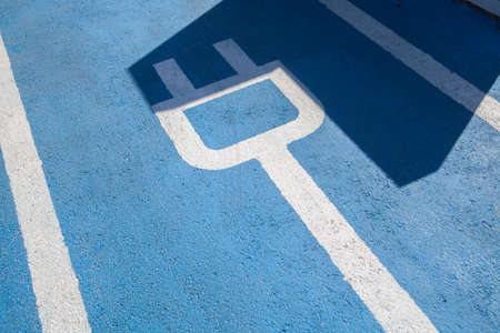 electric cars: Color image of a parking spot for electric cars.