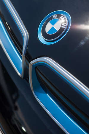 i3: Bucharest, Romania - July 19, 2016: Detail of the vent of a BMW i3 logo on a car. BMW i3 is a five-door urban electric car developed by the German manufacturer BMW.