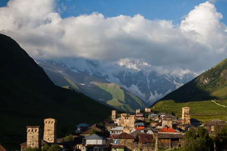 inhabited: Viev of the village of Ushguli, in Georgia Caucasus mountains, upper Svaneti, the highest inhabited village in Europe and an UNESCO World Heritage Site.