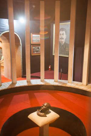 dictator: Color image with a statue of Joseph Vissarionovich Stalin in Gori, Georgia.
