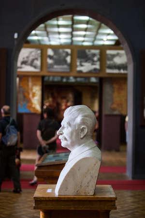 dictator: Gori, Georgia - August 15, 2016: Color image with a statue of Joseph Vissarionovich Stalin, at the Stalin Museum in Gori, Georgia. Editorial