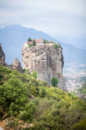 inaccessible: Color image of a monastery in Meteora, Greece. Stock Photo