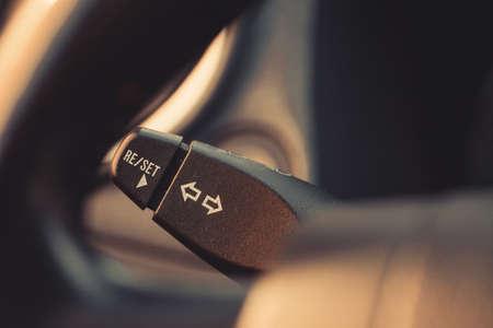palanca: Color close up footage of a cars turn signal lever. Foto de archivo