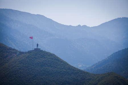 ataturk: Statue of Ataturk ontop of a mountain, in Artvin, Turkey.