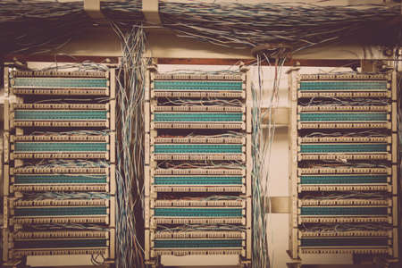 Color Image Of An Old Telephone Exchange Wit Many Wires ... on