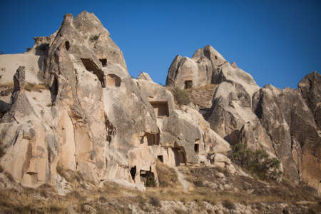Color image of some caves in Cappadocia, Turkey. Stock Photo