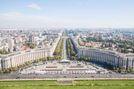 Bucharest, Romania - October 1, 2016: High angle view of Unirii Boulevard and Constitutiei square in Bucharest, Romania. Editorial