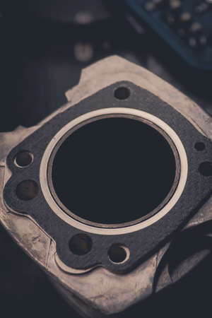 gasket: Close up shot of a motorcycles air-cooled cylinder and gasket. Stock Photo