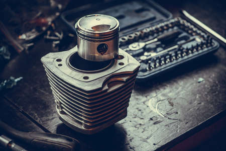 Close up shot of a motorcycles air-cooled cylinder and piston. Stock Photo