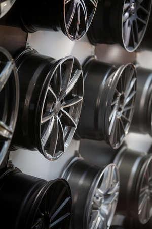 aluminum: Close up shot of some new car rims. Stock Photo