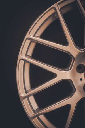 wheel spin: Close up shot of a new car rim. Stock Photo