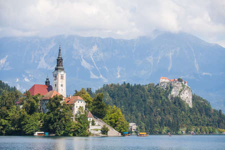 View of the Bled castle and church in Slovenia. Editorial