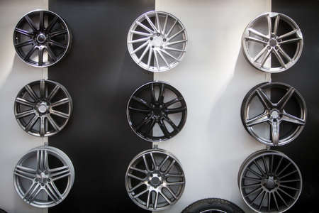 wheel spin: Close up shot of some new car rims. Stock Photo