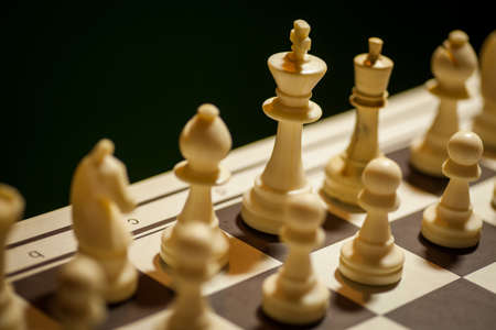 battle plan: Shot of a chess board, with white pieces in focus, with shallow depth of field.