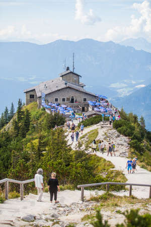 eagle nest rock: Berchtesgaden, Germany - September 28, 2016: View of the Kehlsteinhaus, also known as Hitlers Eagle Nest, a Third Reich-era cabin on top of the summit of the Kehlstein, near Berchtesgaden, Germany. Editorial