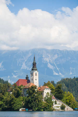 View of the Bled church in Slovenia. Editorial