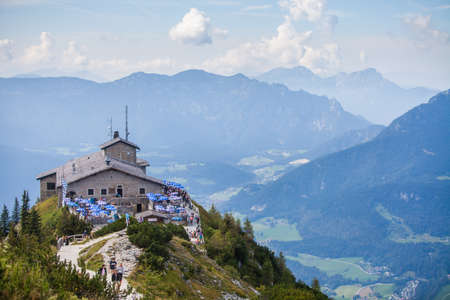 Berchtesgaden, Germany - September 28, 2016: View of the Kehlsteinhaus, also known as Hitlers Eagle Nest, a Third Reich-era cabin on top of the summit of the Kehlstein, near Berchtesgaden, Germany. Editorial
