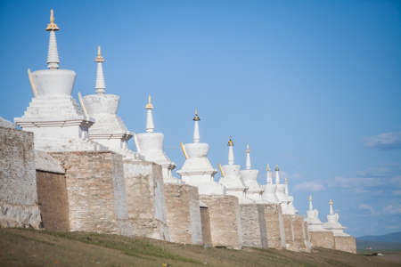 Color image of a Buddhist stupas at a monastery in Mongolia.