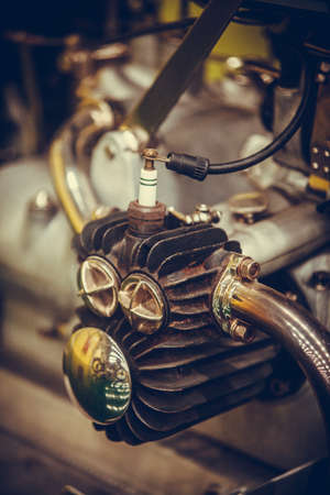 Color detail of a vintage motorcycle boxer engine.